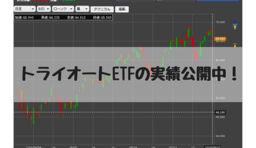 トライオートETF少額で運用中。2018/10/1週、運用13週目の実績+1,191円でした。
