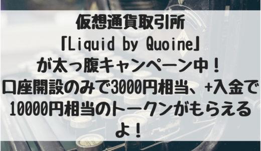 仮想通貨取引所「Liquid by Quoine」が太っ腹キャンペーン中!口座開設のみで3000円相当、+入金で10000円相当のQASH(仮想通貨)がもらえるよ!