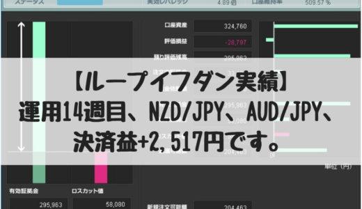 【ループイフダン実績】運用14週目、NZD/JPY、AUD/JPY、決済益+2,517円です。2018/10/22週