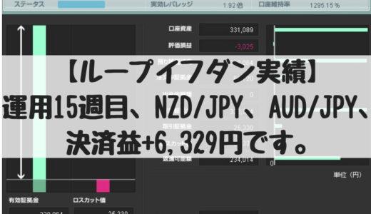 【ループイフダン実績】運用15週目、NZD/JPY、AUD/JPY、決済益+6,329円です。2018/10/29週