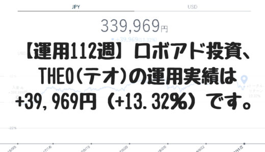 【運用112週】ロボアド投資、THEO(テオ)の運用実績は+39,969円(+13.32%)です。2018/10/29週