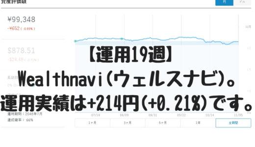 【運用19週】Wealthnavi(ウェルスナビ)。運用実績は+214円(+0.21%)です。2018/11/5週。