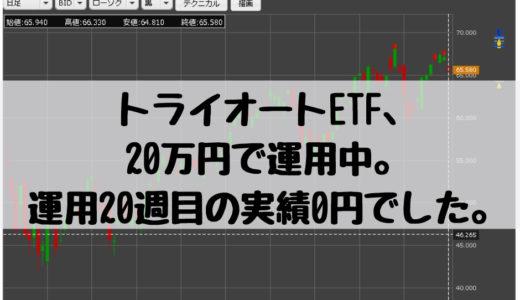 トライオートETF、20万円で運用中。運用20週目の実績0円でした。2018/11/19週