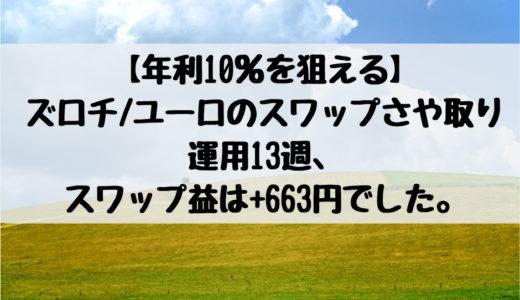 【年利10%を狙える】ズロチ/ユーロのスワップさや取り運用13週、スワップ益は+663円でした。2018/12/24週