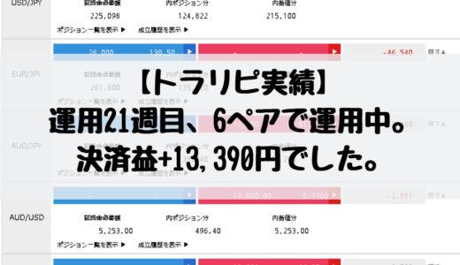 【トラリピ実績】運用21週目、6ペアで運用中。決済益+13,390円でした。2018/12/24週