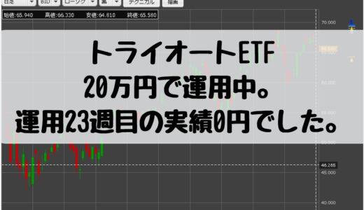 トライオートETF、20万円で運用中。運用23週目の実績0円でした。2018/12/10週