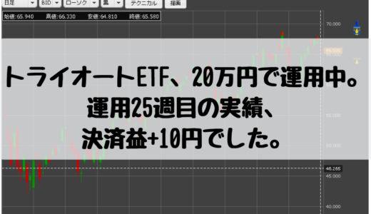 トライオートETF、20万円で運用中。運用25週目の実績、決済益+10円でした。2018/12/24週