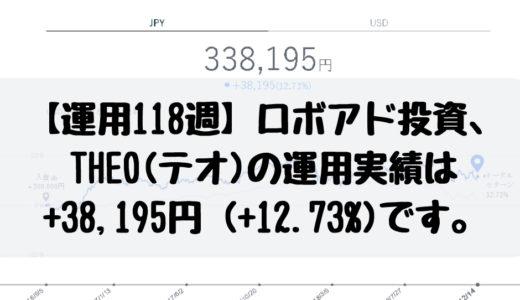 【運用118週】ロボアド投資、THEO(テオ)の運用実績は+38,195円 (+12.73%)です。2018/12/10週