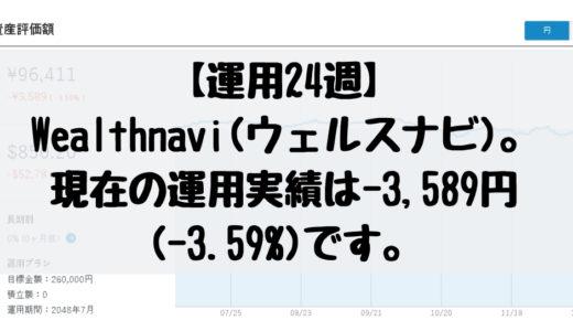 【運用24週】Wealthnavi(ウェルスナビ)。現在の運用実績は-3,589円(-3.59%)です。2018/12/10週。