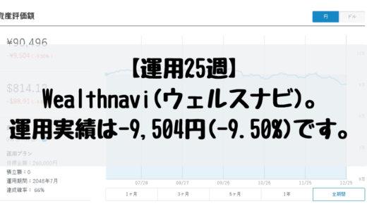 【運用25週】Wealthnavi(ウェルスナビ)。現在の運用実績は-9,504円(-9.50%)です。2018/12/17週。