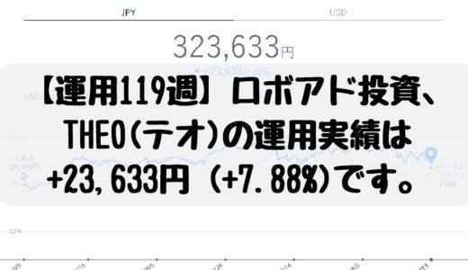 【運用119週】ロボアド投資、THEO(テオ)の運用実績は+23,633円 (+7.88%)です。2018/12/17週