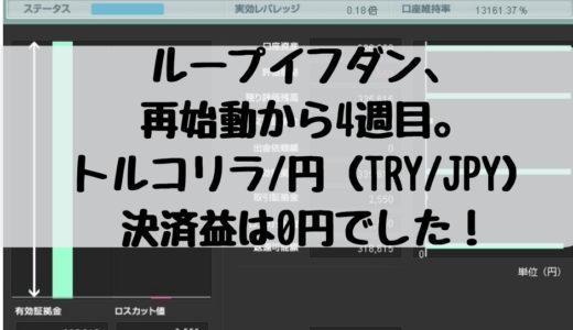 ループイフダン、再始動から4週目。トルコリラ/円(TRY/JPY)の決済益は0円でした!2018/12/3週