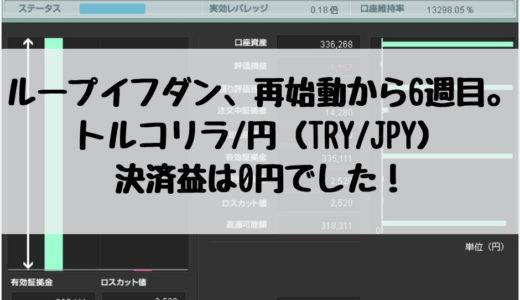 ループイフダン、再始動から6週目。トルコリラ/円(TRY/JPY)の決済益は0円でした!2018/12/17週