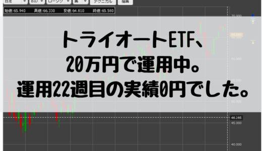 トライオートETF、20万円で運用中。運用22週目の実績0円でした。2018/12/3週