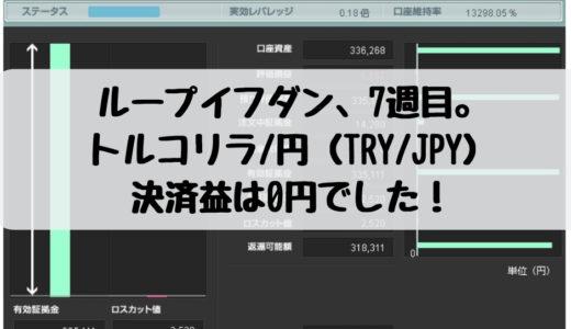 ループイフダン、再始動から7週目。トルコリラ/円(TRY/JPY)の決済益は0円でした!2018/12/24週