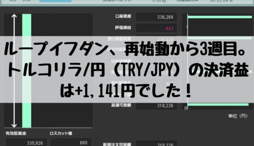 ループイフダン、再始動から3週目。トルコリラ/円(TRY/JPY)の決済益は+1,141円でした!2018/11/26週