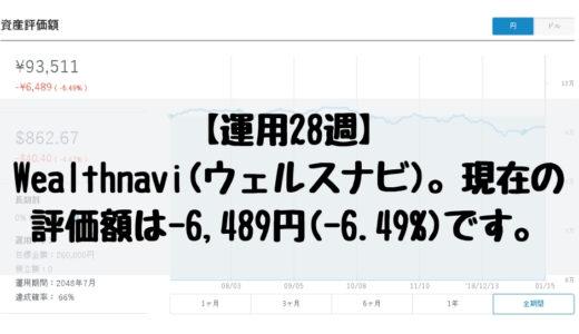 【運用28週】Wealthnavi(ウェルスナビ)。現在の運用実績は-6,489円(-6.49%)です。2019/1/7週。