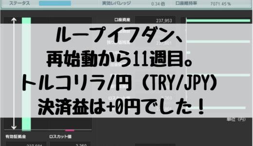 ループイフダン、再始動から11週目。トルコリラ/円(TRY/JPY)の決済益は+0円でした!2019/1/21週