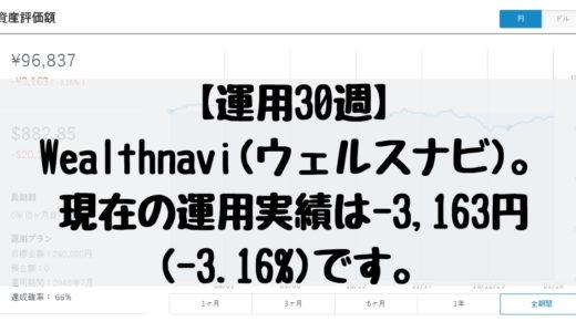 【運用30週】Wealthnavi(ウェルスナビ)。現在の運用実績は-3,163円(-3.16%)です。2019/1/21週。
