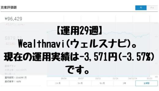 【運用29週】Wealthnavi(ウェルスナビ)。現在の運用実績は-3,571円(-3.57%)です。2019/1/14週。