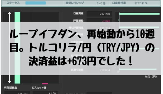 ループイフダン、再始動から10週目。トルコリラ/円(TRY/JPY)の決済益は+673円でした!2019/1/14週