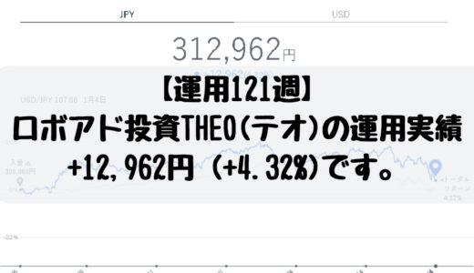 【運用121週】ロボアド投資、THEO(テオ)の運用実績は+12,962円 (+4.32%)です。2018/12/31週