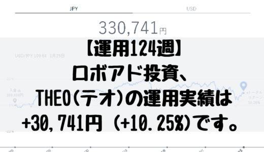 【運用124週】ロボアド投資、THEO(テオ)の運用実績は+30,741円 (+10.25%)です。2019/1/21週