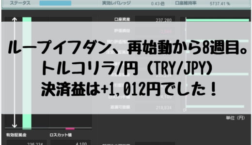 ループイフダン、再始動から8週目。トルコリラ/円(TRY/JPY)の決済益は+1,012円でした!2018/12/31週