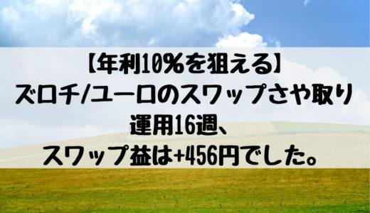 【年利10%を狙える】ズロチ/ユーロのスワップさや取り運用16週、スワップ益は+456円でした。2019/1/14週