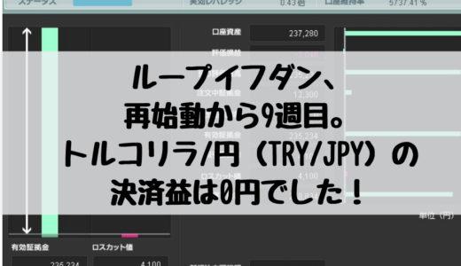 ループイフダン、再始動から9週目。トルコリラ/円(TRY/JPY)の決済益は0円でした!2019/1/7週