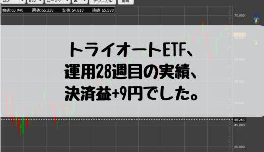 トライオートETF、20万円で運用中。運用28週目の実績、決済益+9円でした。2019/1/14週