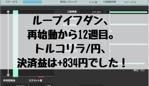 ループイフダン、再始動から12週目。トルコリラ/円(TRY/JPY)の決済益は+834円でした!2019/1/28週