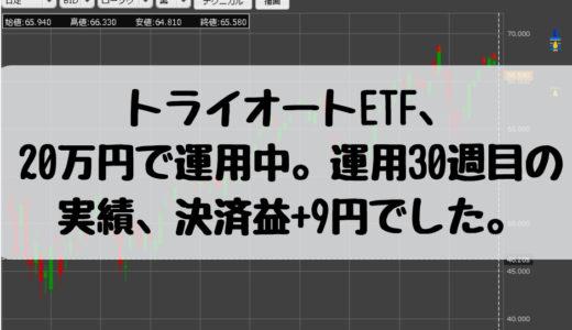 トライオートETF、20万円で運用中。運用30週目の実績、決済益+9円でした。2019/1/28週