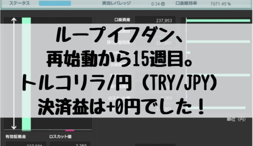ループイフダン、再始動から15週目。トルコリラ/円(TRY/JPY)の決済益は+0円でした!2019/2/18週