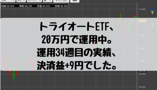 トライオートETF、20万円で運用中。運用34週目の実績、決済益+9円でした。2019/2/25週