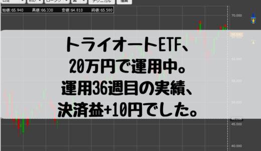 トライオートETF、20万円で運用中。運用36週目の実績、決済益10円でした。2019/3/11週
