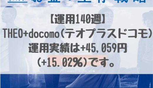 【運用140週】THEO+docomo(テオプラスドコモ)の運用実績は+45,059円 (+15.02%)です。2019/5/13週